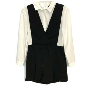 TOPSHOP Black & White Collared Romper Size 6